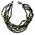 Multistrand Glass And Shell - Composite Necklace (Olive Green & Black) - 54cm L - view 7