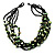 Multistrand Glass And Shell - Composite Necklace (Olive Green & Black) - 54cm L