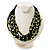 Multistrand Glass And Shell - Composite Necklace (Olive Green & Black) - 54cm L - view 2