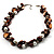 Exquisite Faux Pearl & Shell Composite Silver Tone Link Necklace (Chocolate & White) - view 4