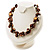 Exquisite Faux Pearl & Shell Composite Silver Tone Link Necklace (Chocolate & White) - view 2