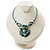 Turquoise Coloured Glass, Shell & Mother of Pearl Floral Choker Necklace (Silver Tone)