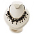 Black Shell Composite Charm Leather Style Necklace (Silver Tone) - view 2