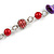 Multicoloured Long Shell Composite & Imitation Pearl Bead Silver Tone Necklace - 120cm Long - view 4