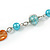 Multicoloured Long Shell Composite & Imitation Pearl Bead Silver Tone Necklace - 120cm Long - view 6
