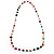Multicoloured Long Shell Composite & Imitation Pearl Bead Silver Tone Necklace - 120cm Long - view 14