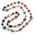 Multicoloured Long Shell Composite & Imitation Pearl Bead Silver Tone Necklace - 120cm Long - view 7