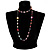 Multicoloured Long Shell Composite & Imitation Pearl Bead Silver Tone Necklace - 120cm Long - view 8