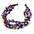 3 Strand Purple & Black Shell - Composite Bead Necklace - view 5
