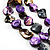 3 Strand Purple & Black Shell - Composite Bead Necklace - view 3