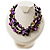 3 Strand Purple & Black Shell - Composite Bead Necklace - view 2