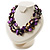 3 Strand Purple & Black Shell - Composite Bead Necklace - view 7