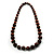 Animal Print Wooden Bead Necklace (Brown & Black) - 70cm L - view 12