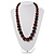 Animal Print Wooden Bead Necklace (Brown & Black) - 70cm L - view 2