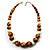 Wood & Ceramic Graduated Bead Necklace (Light Brown, Cream & Black) - 44cm L/ 3cm Ext - view 3