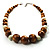 Wood & Ceramic Graduated Bead Necklace (Light Brown, Cream & Black) - 44cm L/ 3cm Ext - view 5