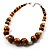 Wood & Ceramic Graduated Bead Necklace (Light Brown, Cream & Black) - 44cm L/ 3cm Ext - view 2