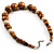 Wood & Ceramic Graduated Bead Necklace (Light Brown, Cream & Black) - 44cm L/ 3cm Ext - view 6
