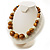Wood & Ceramic Graduated Bead Necklace (Light Brown, Cream & Black) - 44cm L/ 3cm Ext - view 7