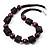 Deep Purple Wood Button & Bead Chunky Necklace - 62cm Length