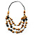 Long Layered Beige Brown Wood Bead Cotton Cord Necklace -90cm Length