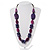 Purple Wood Bead Black Faux Leather Necklace - 76cm L