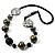 Stylish Animal Print Wooden Bead Necklace (Grey & Black) - 70cm L
