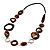Wood & Silver Tone Metal Link Leather Style Long Necklace (Dark Brown & Black) -76cm L - view 9