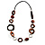 Wood & Silver Tone Metal Link Leather Style Long Necklace (Dark Brown & Black) -76cm L - view 10