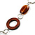 Wood & Silver Tone Metal Link Leather Style Long Necklace (Dark Brown & Black) -76cm L - view 5