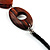 Wood & Silver Tone Metal Link Leather Style Long Necklace (Dark Brown & Black) -76cm L - view 6