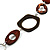 Wood & Silver Tone Metal Link Leather Style Long Necklace (Dark Brown & Black) -76cm L - view 4