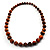 Long Graduated Wooden Bead Colour Fusion Necklace (Light Brown & Black) - 64cm L - view 2