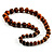 Long Graduated Wooden Bead Colour Fusion Necklace (Light Brown & Black) - 64cm L - view 7