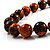 Long Graduated Wooden Bead Colour Fusion Necklace (Light Brown & Black) - 64cm L - view 3
