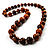 Long Graduated Wooden Bead Colour Fusion Necklace (Light Brown & Black) - 64cm L - view 4