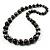 Animal Print Wooden Bead Necklace (Black & Metallic Silver) - 68cm Length