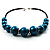 Glittering Teal Wood Bead Leather Cord Necklace - view 8