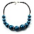 Glittering Teal Wood Bead Leather Cord Necklace - view 2