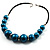 Glittering Teal Wood Bead Leather Cord Necklace - view 9