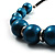 Glittering Teal Wood Bead Leather Cord Necklace - view 5