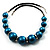 Glittering Teal Wood Bead Leather Cord Necklace - view 10