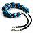 Glittering Teal Wood Bead Leather Cord Necklace - view 3