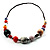 Long Resin & Ceramic Bead Cotton Cord Necklace (Multicoloured) - 70cm L - view 6