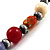 Long Resin & Ceramic Bead Cotton Cord Necklace (Multicoloured) - 70cm L - view 3