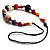 Long Resin & Ceramic Bead Cotton Cord Necklace (Multicoloured) - 70cm L - view 5
