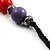 Long Resin & Ceramic Bead Cotton Cord Necklace (Multicoloured) - 70cm L - view 8