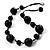 Chunky Black Ceramic & Resin Bead Cotton Cord Necklace - 52cm L