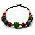 Multicoloured Wood Bead Cotton Cord Necklace - 60cm L - view 8