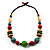 Multicoloured Wood Bead Cotton Cord Necklace - 60cm L - view 9